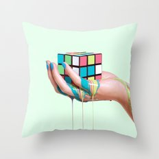 MELTING RUBIKS CUBE Throw Pillow