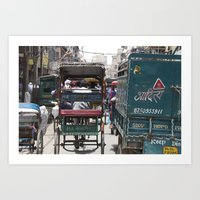Busy Delhi Streets Art Print