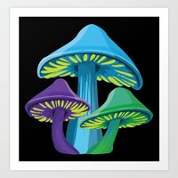 Alice's Shrooms - Dark Art Print