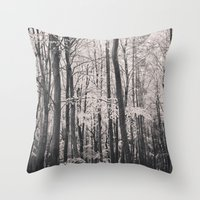 Deep in Woodland - Black and White Collection Throw Pillow