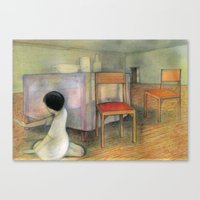 Girl in a House Dinner Room Canvas Print