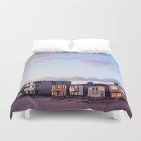 Midcentury Style Homes along the Beach, Sunset Beach, California Duvet Cover
