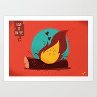 :::Love Is On The Fire::… Art Print