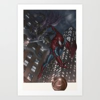 Spiderman Vs Goblin Art Print