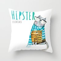 Hipster Cat Throw Pillow