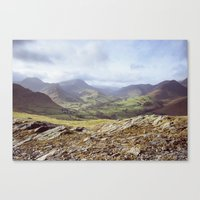 View of mountains on a sunny day. Cumbria, UK. (Shot on film). Canvas Print