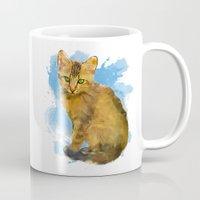 Watercolor and splatter Cat Mug