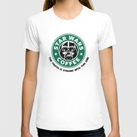 Star Wars Coffee Womens Fitted Tee White SMALL