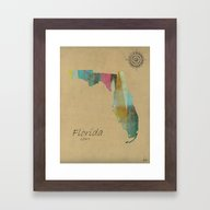 Framed Art Print featuring Florida State Map by Bri.buckley