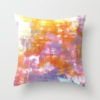 OFF THE GRID 3 Colorful Pastel Neon Purple Rust Yellow Abstract Watercolor Acrylic Textural Painting Throw Pillow