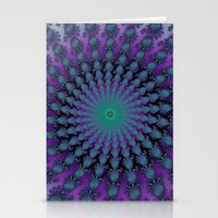 Cool Hued Purple Blue Braided Rug Fractal Stationery Cards