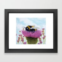 Bumblebee On A Thistle Framed Art Print