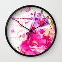 flower and splash in pink Wall Clock