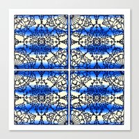 Blue Ink Shibori Tile Canvas Print