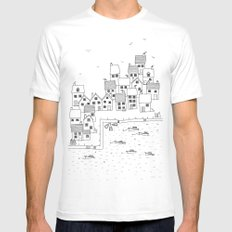Harbour sketch Mens Fitted Tee SMALL White