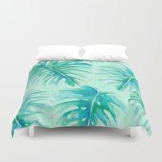 Paradise Palms Mint Duvet Cover