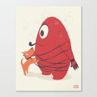 Cyclopes Monster Blob & Orange Dog Canvas Print