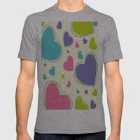 Cute Playful Hearts Pattern Mens Fitted Tee Athletic Grey SMALL