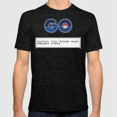 CAUTION: THIS TRAINER MAKES FREQUENT STOPS! Mens Fitted Tee Tri-Black SMALL
