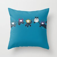 Animals in Space Throw Pillow
