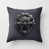 Foo Lion Dog Mask Throw Pillow