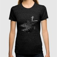Space Diving Womens Fitted Tee Tri-Black MEDIUM
