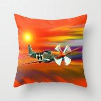 P 51 Mustang Cadillac Of… Throw Pillow