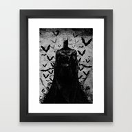 Framed Art Print featuring The Night Rises B&W by UvinArt