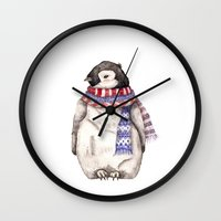 Baby Penguin In Red And … Wall Clock