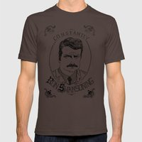 Constantly Ron Swansoning Mens Fitted Tee Brown SMALL
