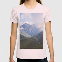 Mountains Womens Fitted Tee Light Pink SMALL