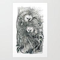owls Art Prints featuring Owls by Irina Vinnik