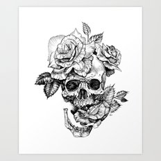 Black and White skull with roses pen drawing Art Print