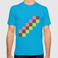 Stairs Of Squares Mens Fitted Tee Teal SMALL