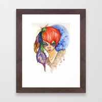 Red Head And Feathers Framed Art Print