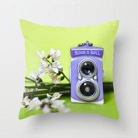 Mini camera Bi optics Throw Pillow
