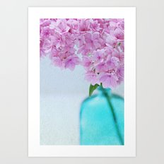 Pink Hydrangea Flowers in Blue Bottle Art Print