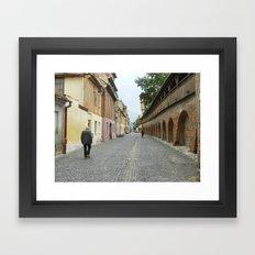 Old Walls, Old Man Walking Framed Art Print