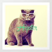 Turquoise Funny Cat Cute Hipster Glasses Mustache Art Print
