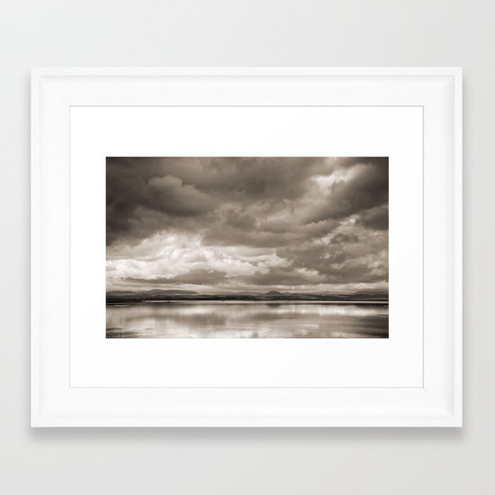 Stormy lake. Vintage Framed Art Print