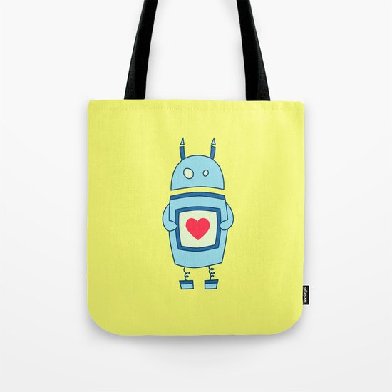 Cute Clumsy Robot With Heart Tote Bag
