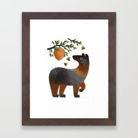 Bear With Bee Framed Art Print