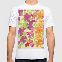 Summer Floral Mens Fitted Tee Ash Grey SMALL