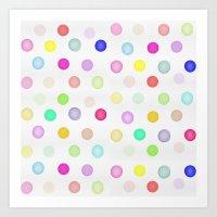 Watercolor Polka Dots Art Print