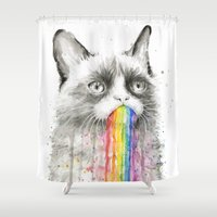 Grumpy Rainbow Cat Watercolor Shower Curtain