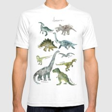 Dinosaurs SMALL White Mens Fitted Tee