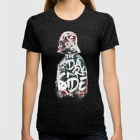 Respect the Dark Side Vader Womens Fitted Tee Tri-Black SMALL