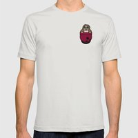 Pocket Dude (01) Mens Fitted Tee Silver SMALL