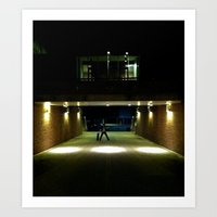 Skater Claims Strange New Location At Night Art Print