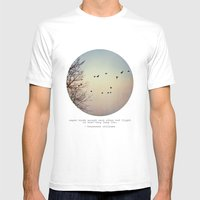 Caged Birds Mens Fitted Tee White SMALL